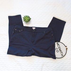 LOGO | Blue Stretch Twill Ankle Pants w/Lace Trim
